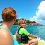 Taking the dinghy over to Marina Cay