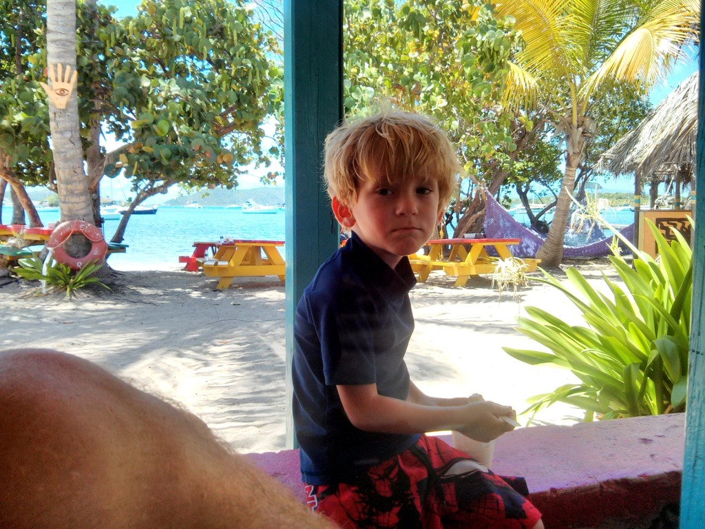 In Trellis Bay,enjoying the shade and breeze