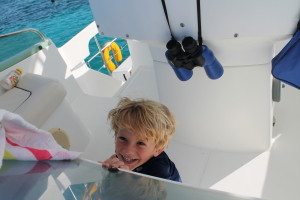 Playing on the boat ... I think it was hide and seek