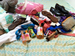Mommy brought all this stuff for Kate on this trip.