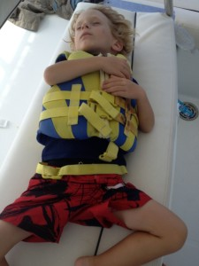 Jack has mastered the important skill of being able to sleep anywhere and anytime ... this is on the flybridge after a crossing