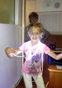 Playing with our strand of ribbon lights ... we are trying to figure out how to add better lighting to areas of the boat