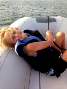The new boat has a nice front platform, Genna tried it out and approved it as an excellent place to sit and snuggle