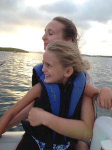 Lights on, big smiles, held on tight, sun setting ... a great evening boat ride
