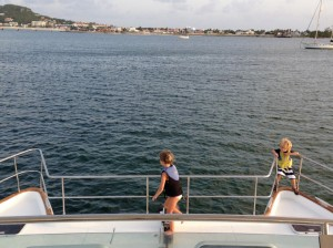 Jack and Genna on the bow, as we head down Simpson Lagoon on our way back to our marina.