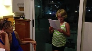 Jaci reading her story as the stingray, being afraid of the girl that swam over top ... :)