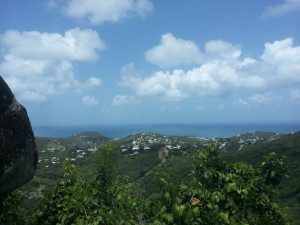 Not a bad view from the top of St. Martin ... that's the island of Anguilla in the distance.