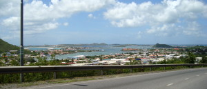 This is our bay ... Simpson Bay ... we live in the marina by the red roof houses on the middle right ...