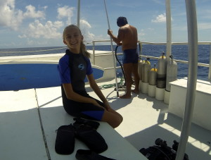 Getting ready for her deep water (45-50ft) dive.