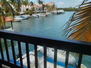 The view from our office balcony, this is place is called Simpson Bay Marina