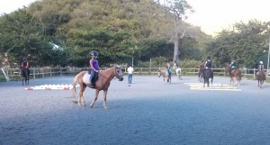 "Jaci on ""Rock and Roll"" (a 34yr old horse) with her riding classmates."