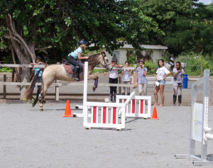 Jaci riding Mirage at the St. Martin horse show. About 25 kids, 8 from the island of St. Barts.