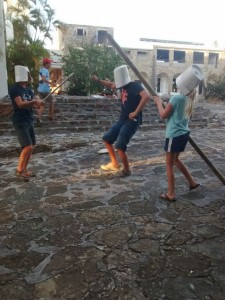 Our Dutch friends having a sword fight at the abandoned hotel, La Belle Creole, in St Maarten.